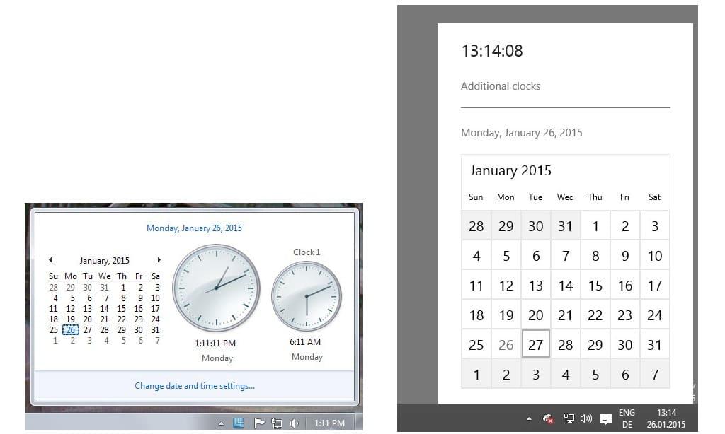 windows clock calendar comparison