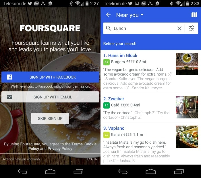 You can use the Foursquare apps without account now