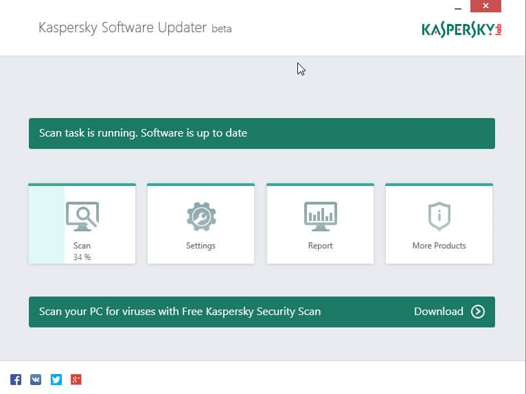 kaspersky software updater interface