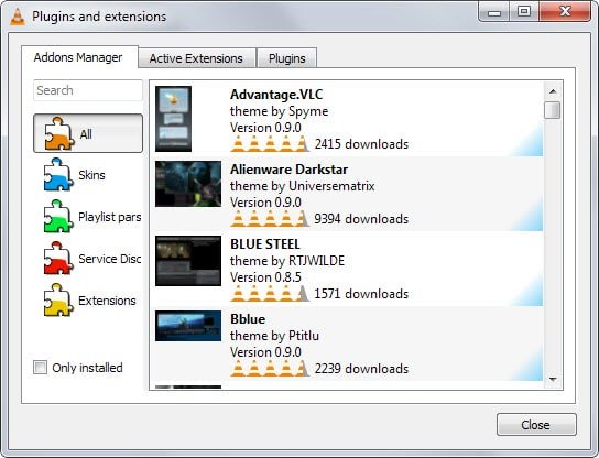 vlc extensions