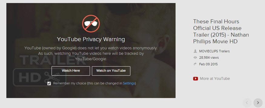 youtube privacy warning