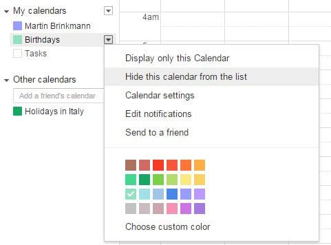 google calendar birthdays