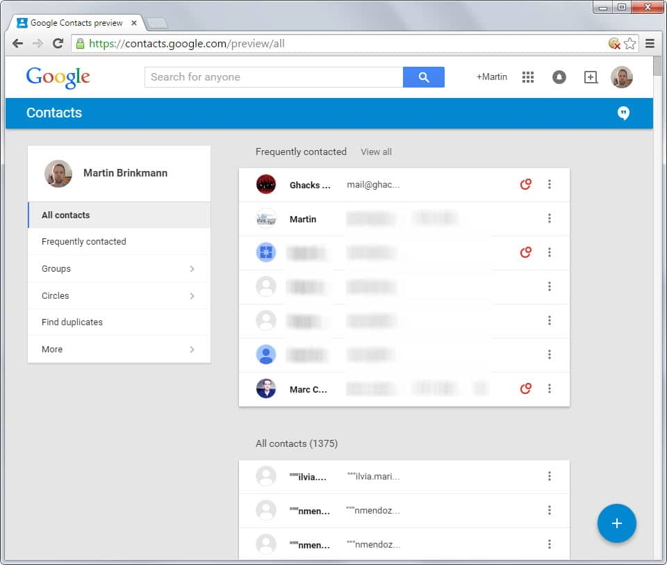 google contacts new