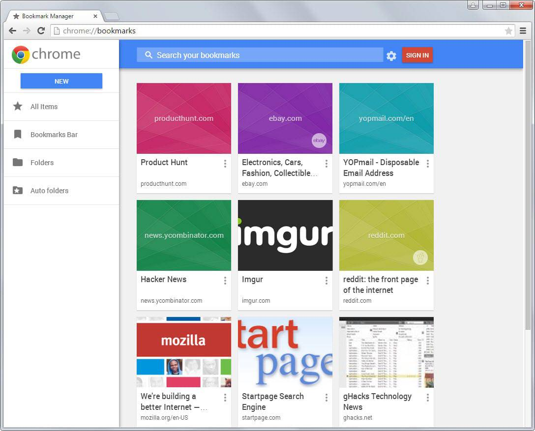 chrome new bookmark manager