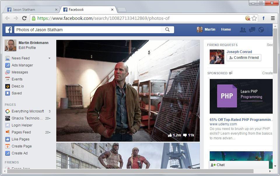 facebook display photos of