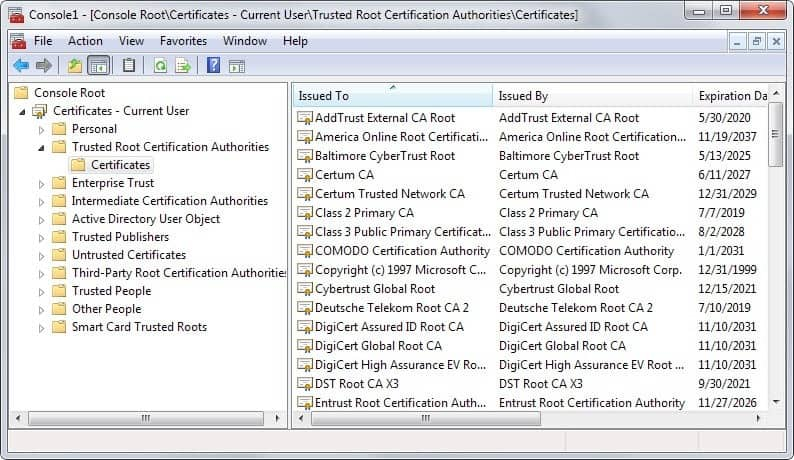how to add certificate to trusted root