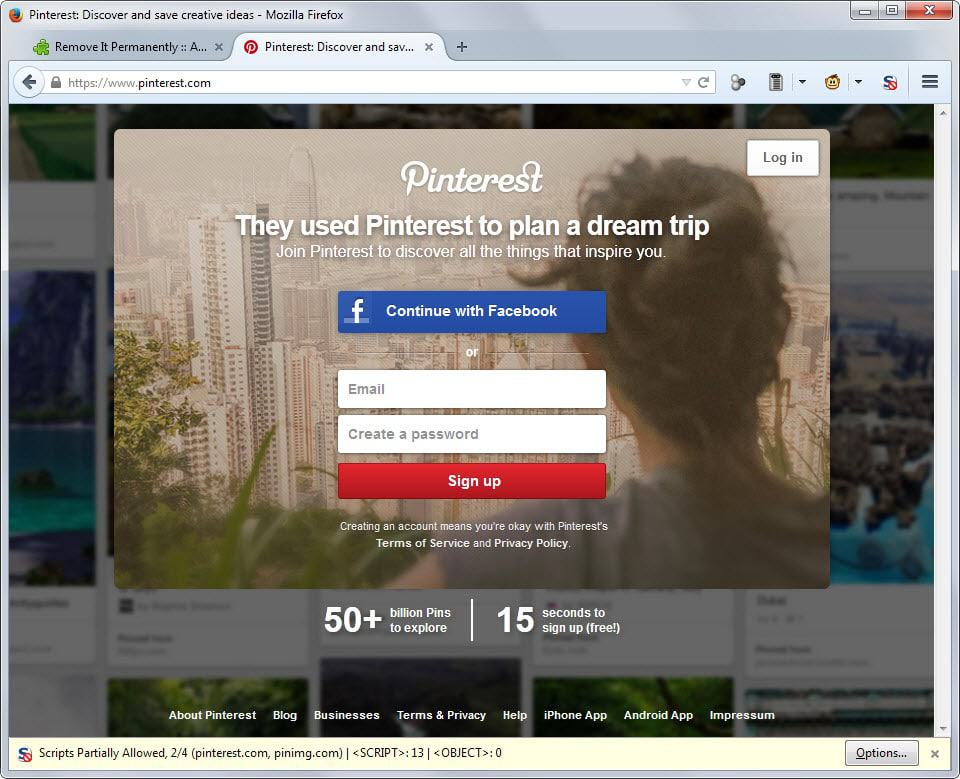 Unlimited Pinterest browsing without registration