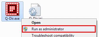 q-dir run administrator