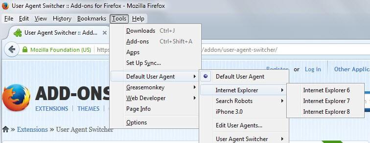 user-agent firefox