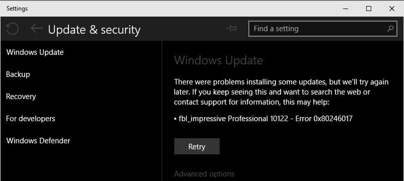 Windows Update error 0x80246017 continues to plague users