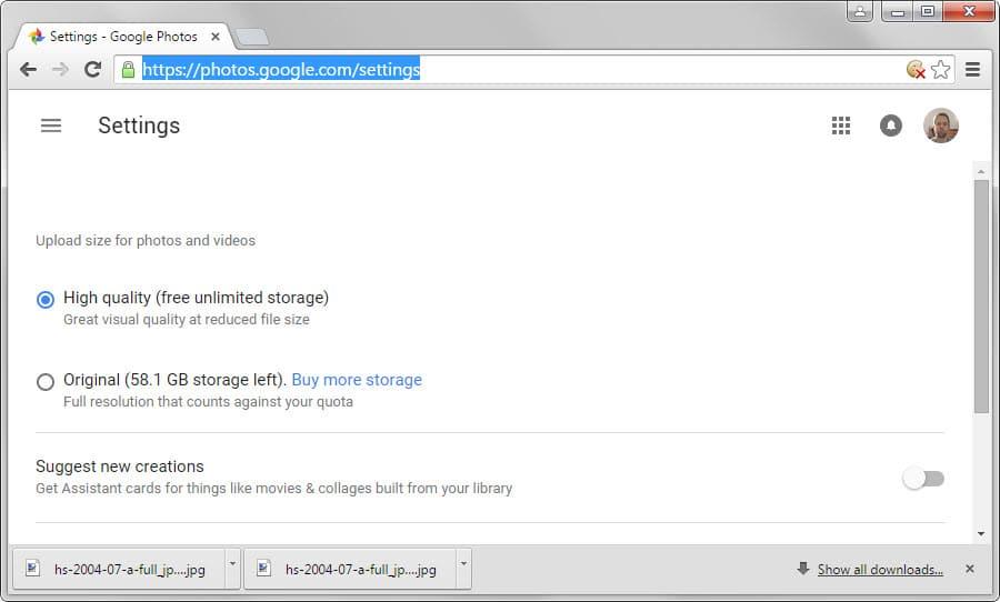 google photos upload size