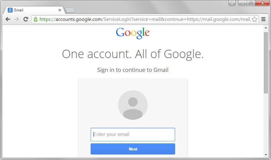 google sign-in first page