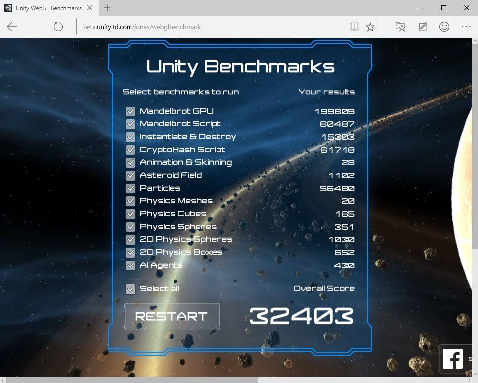unity benchmark no asm