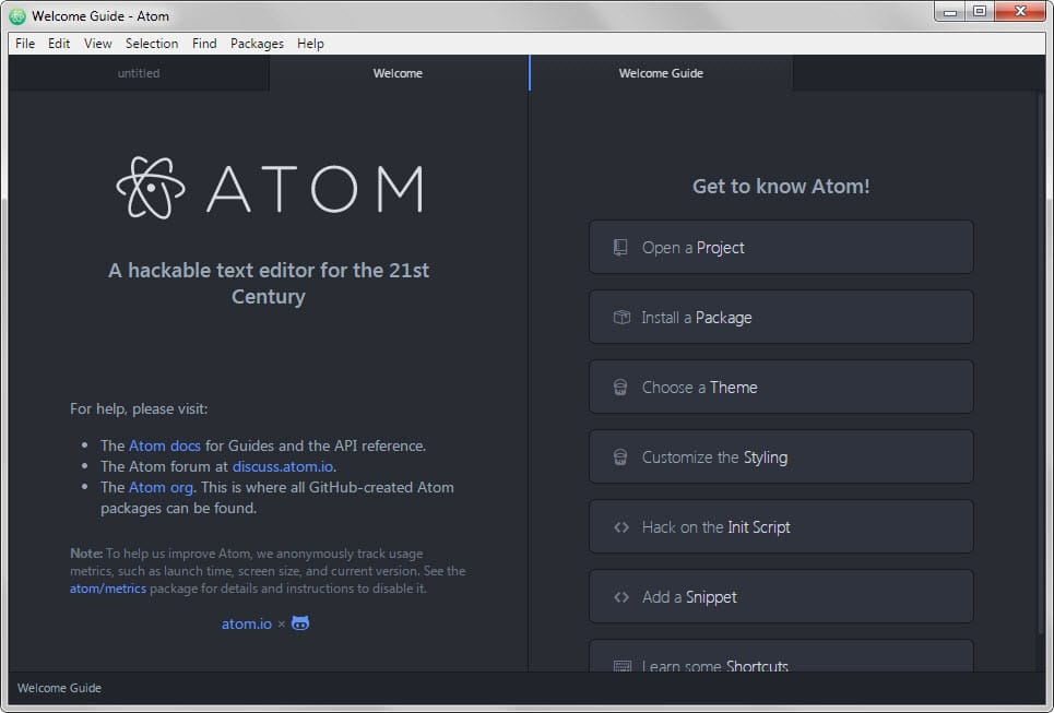 atom io welcome