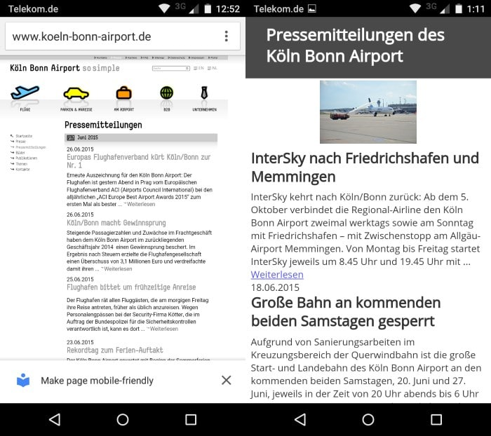 "Chrome displays ""Make page mobile-friendly"" on some sites"