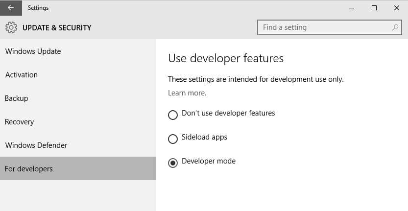 How to enable Developer Mode in Windows 10 to sideload apps