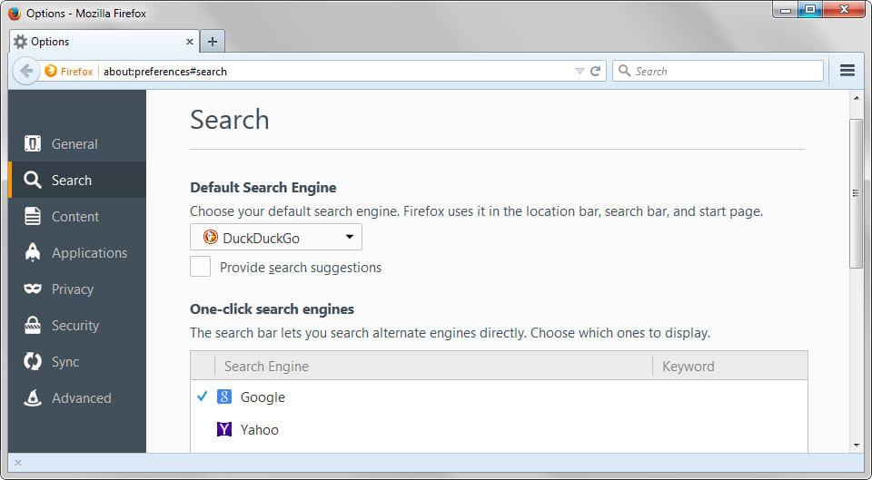 firefox search preferences