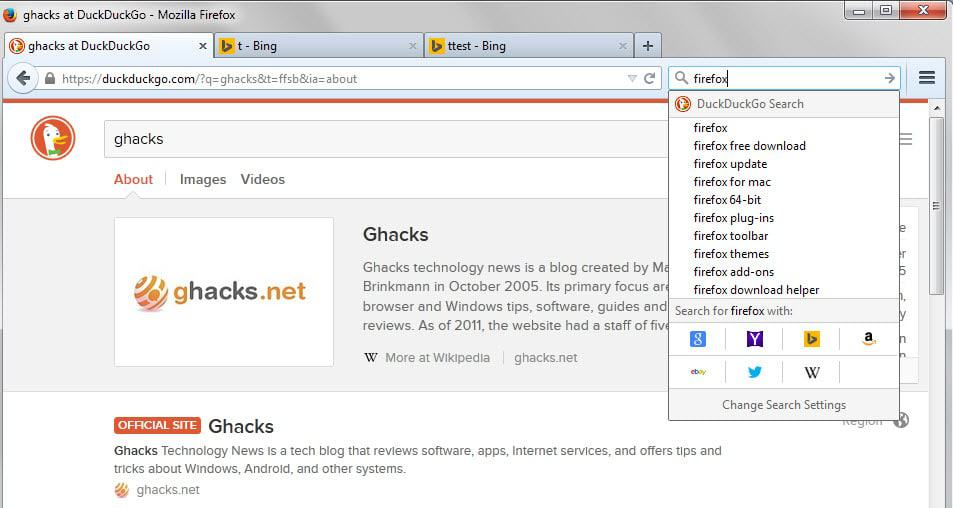 How to switch between search engines in Firefox easily