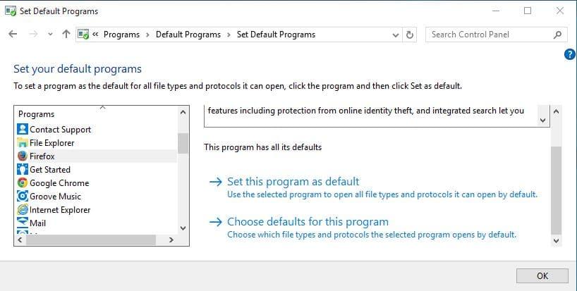 default browser