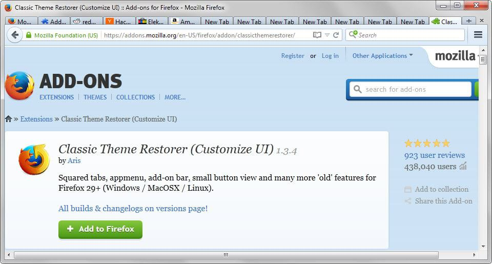 Optimize tabs in Firefox with Classic Theme Restorer