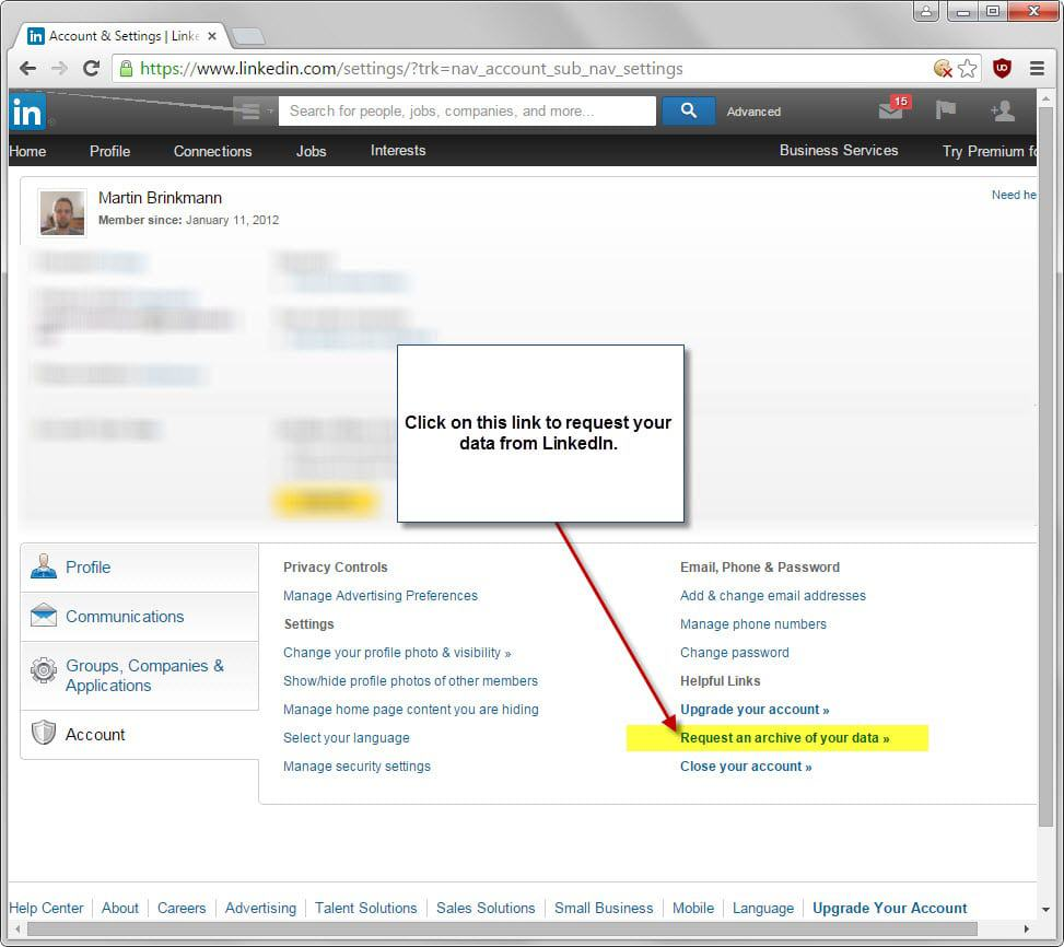 linkedin request data