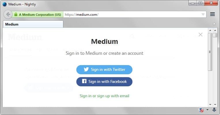 medium sign-up email