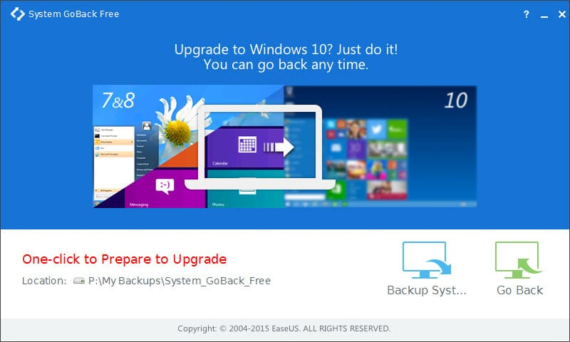 Downgrade Windows 10 with EaseUS System GoBack