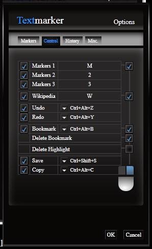 textmarker options