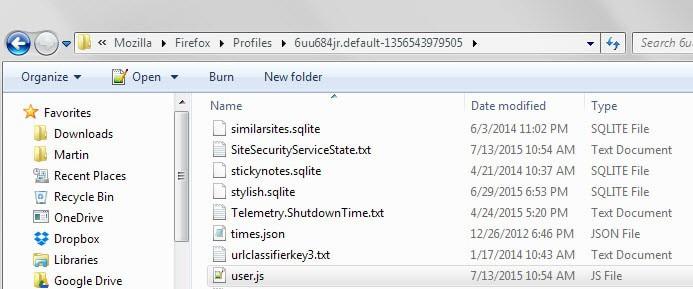 user.js firefox automatic updates