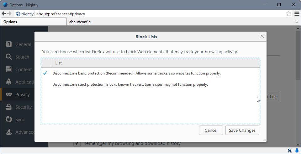firefox blocklist selection
