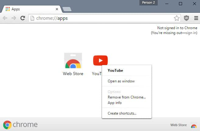 remove apps from chrome