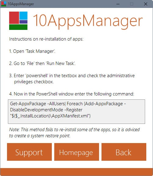 restore windows 10 apps