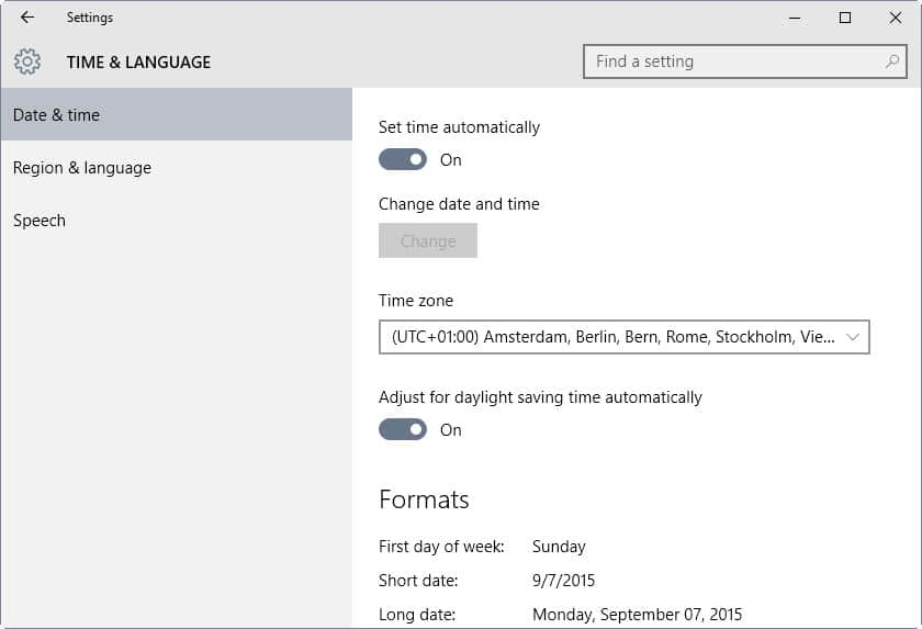 How to change time and language formats in Windows 10