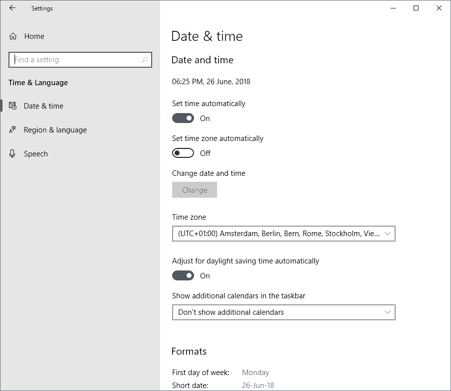 how to change update times in windows 10
