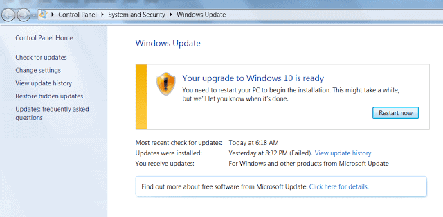 Upgrade to Windows 10 Is Ready
