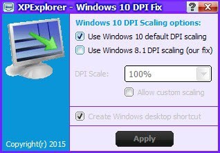 windows 10 dpi fix interface