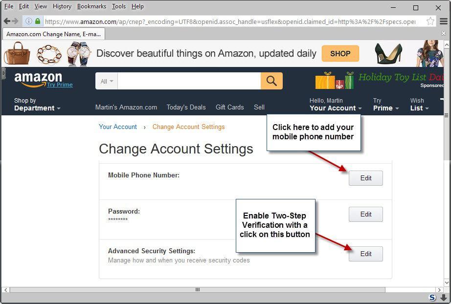 amazon two step verification