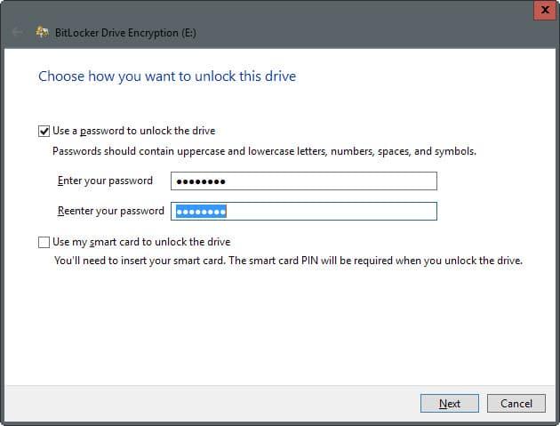 bitlocker encrypt drive