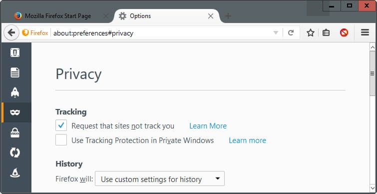 firefox tracking protection