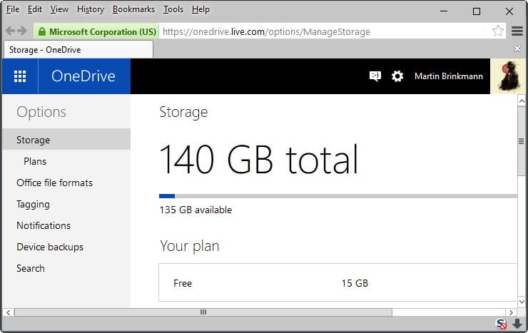 how to view storage on one drive