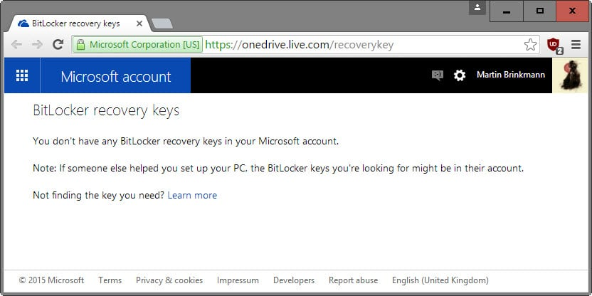 bitlocker recovery keys
