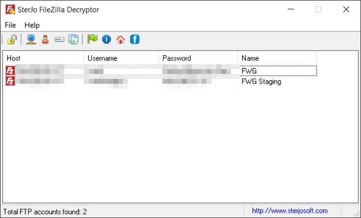 Sterjo Filezilla Decryptor Screenshot