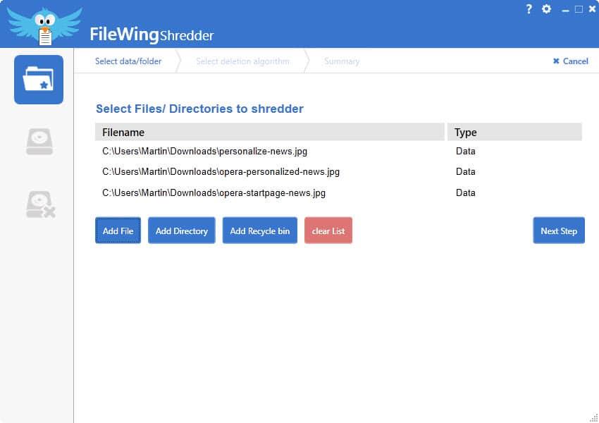 filewing shredder delete