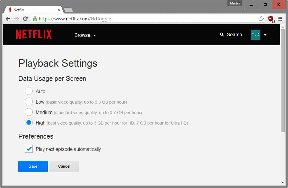 netflix hd playback