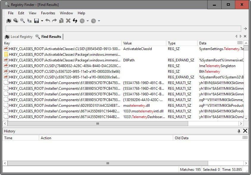 registry finder results