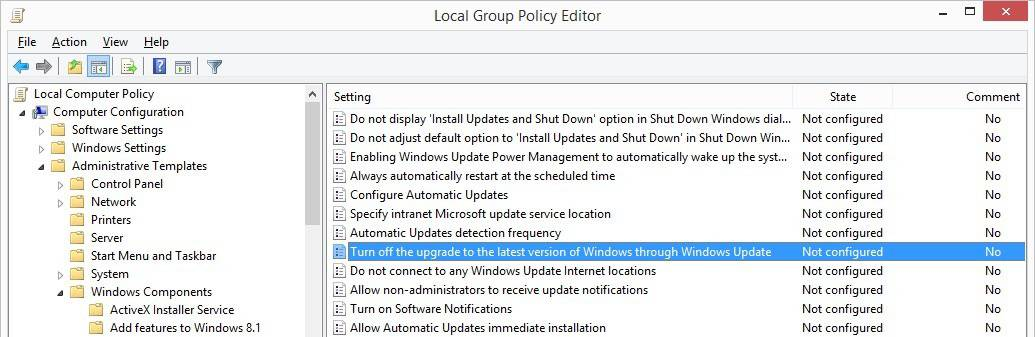 turn off windows 10 upgrade policy