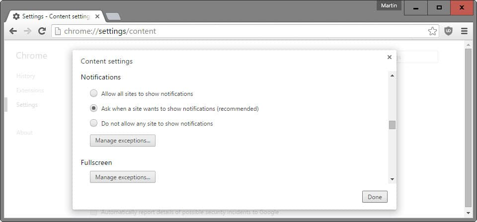 chrome notification settings