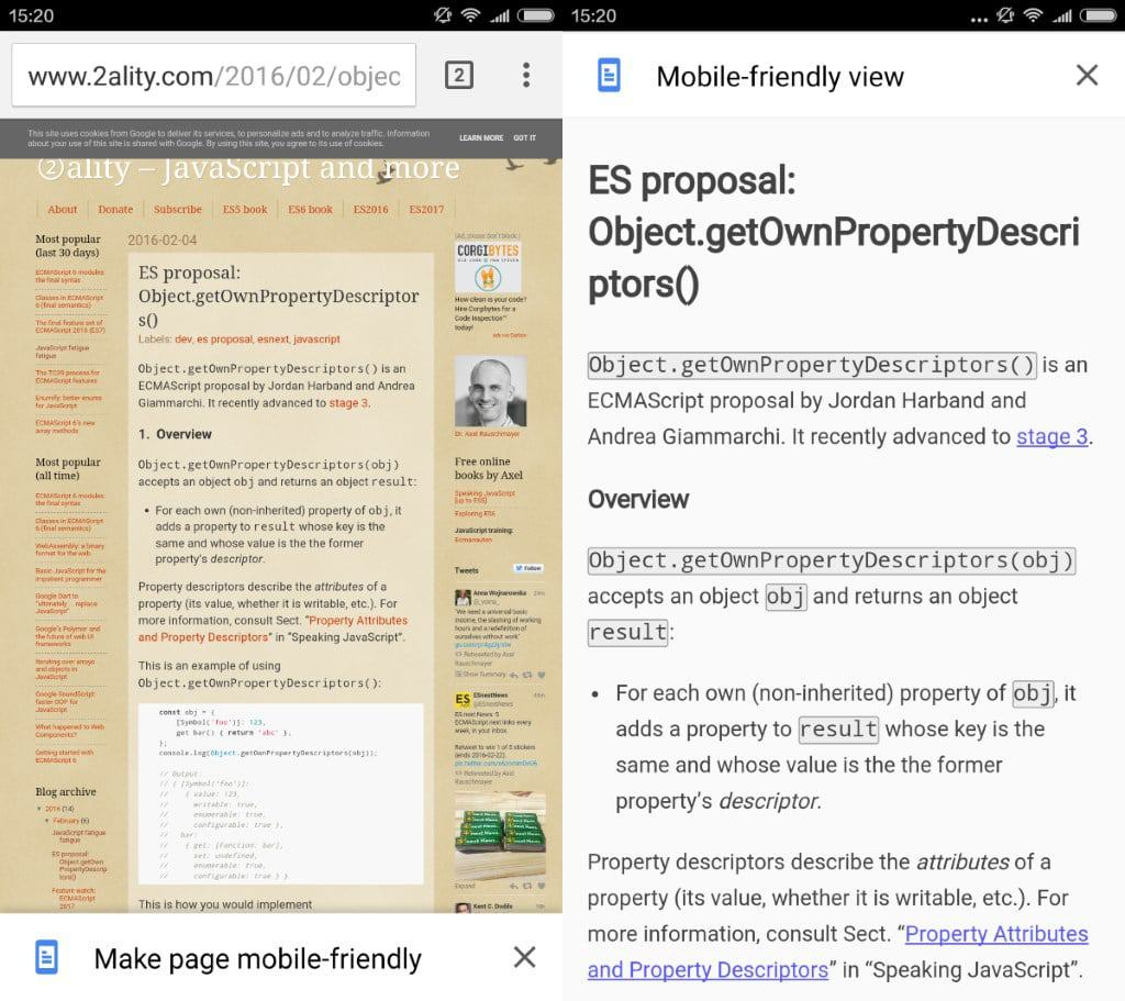 "First look at ""make page mobile-friendly"" in Chrome Dev for Android"