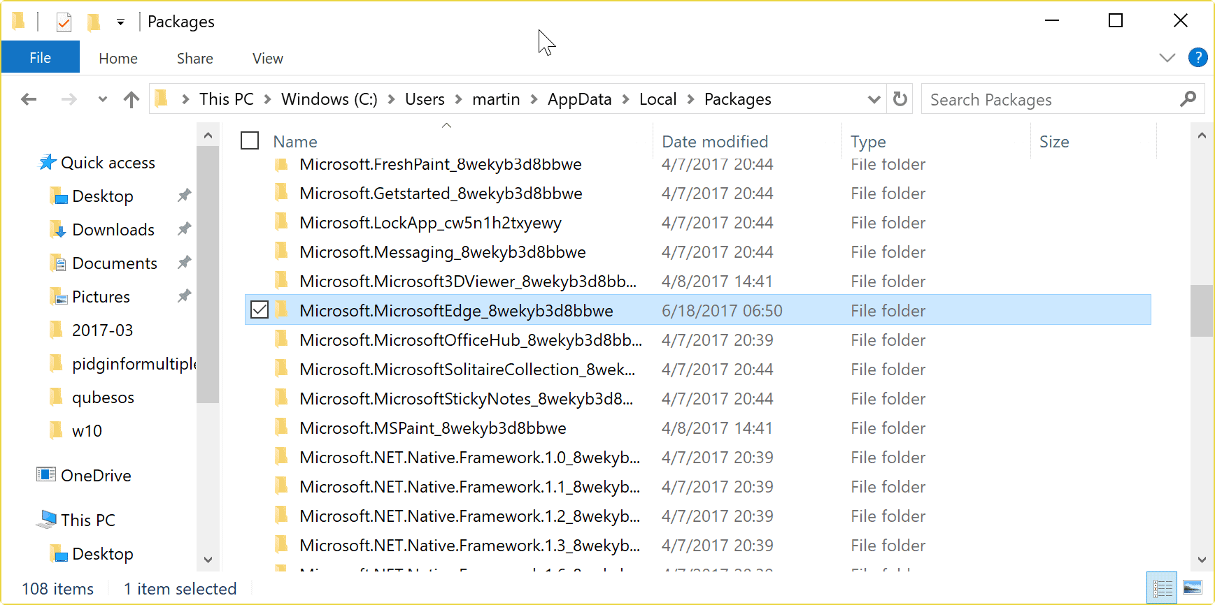 microsoft edge folder