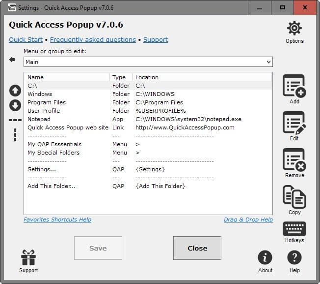 quick access popup folders